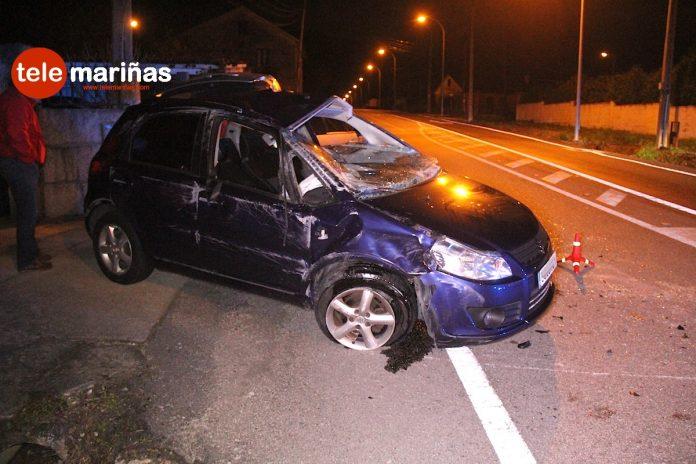 Un conductor ebrio vuelca con su coche en Nigrán