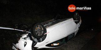 Un conductor sale por su propio pie tras volcar su vehículo en Cabo Silleiro