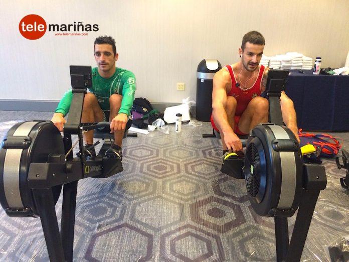 Damián Alonso y Óscar Alonso entrenando en Boston esta tarde.