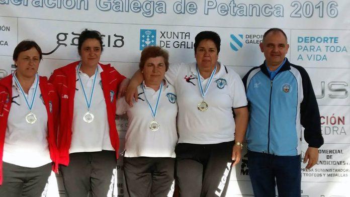 Luisa Martínez, Beatriz Rouco, Olga Garrote y Amelia Valverde, campeonas gallegas de petanca en Vigo