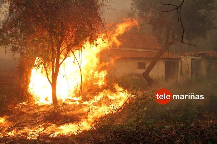 El fuego llega a amenazar un núcleo de casas en Caminha