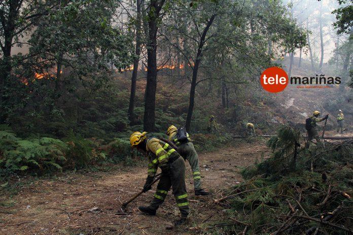 Las llamas afectan al Monte Aloia