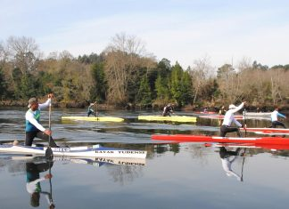 Isaquías Queiroz y Suso Morlán entrenan con el Kayak Tudense