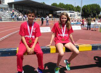 Los jóvenes atletas del Trega, Hugo Domínguez y Marcela Morgado, consiguen la medalla de oro en Pontevedra