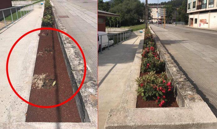 Roban las plantas de los maceteros que adornan Gondomar y varias piezas del parque infantil