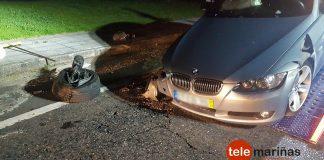 Abandona su coche después de sufrir un accidente en Tui