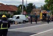 Tres personas heridas en un accidente con cuatro vehículos implicados en Tomiño