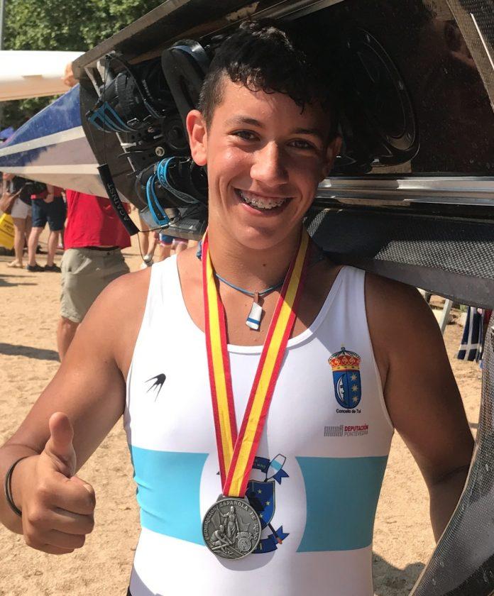 Plata para Bruno Misa, del club Remo do Miño, en el campeonato de España de remo olímpico