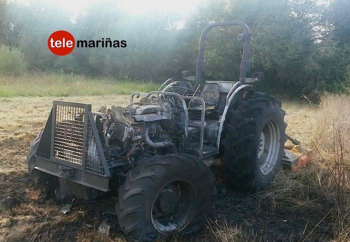 Arde un tractor cerca de la gasolinera de San Roque de A Guarda