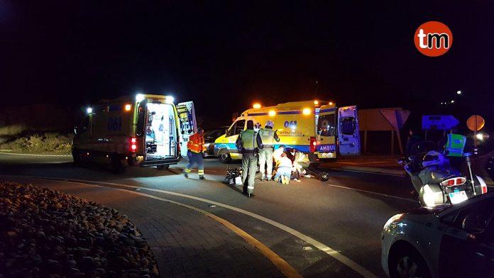Un motorista herido en la rotonda de Cabo Silleiro