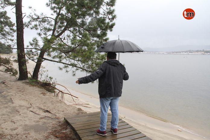 Malestar entre los vecinos de A Guarda por la erosión del litoral de A Lamiña