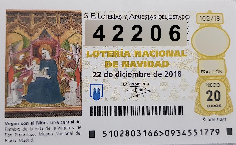Lotería de Navidad 2018: Cuarto premio 42.206 - Telemariñas