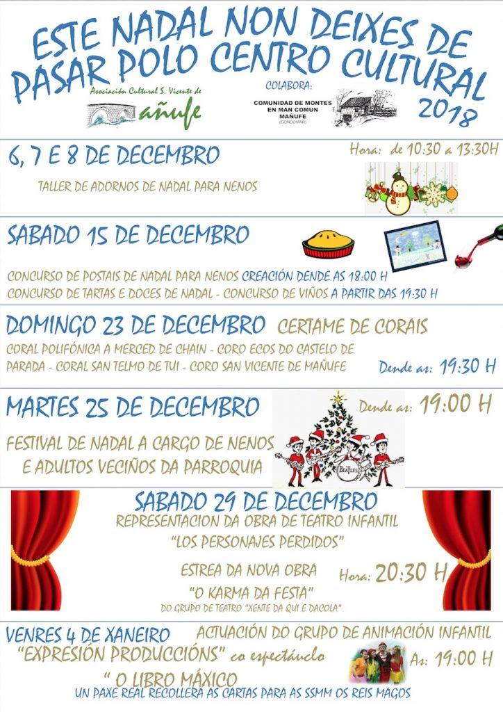 Programación Cultural de Navidad en el Centro Cultural de Mañufe
