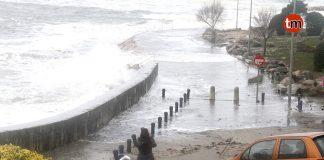 Temporal paseo marítimo de A Guarda el 3 de febrero de 2017