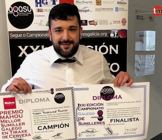El barista baionés Rubén Rodríguez, mejor sumiller gallego de tiraje de cerveza