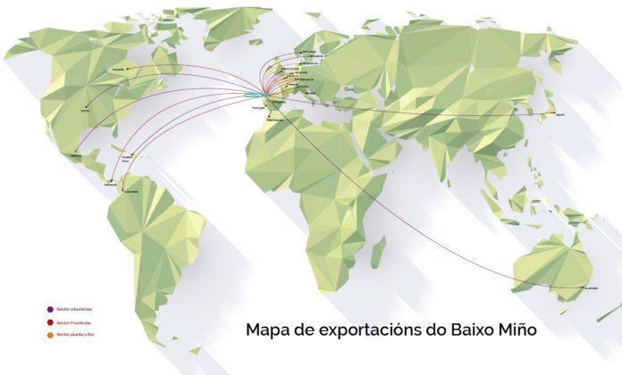 Mapa exportación Baixo Miño
